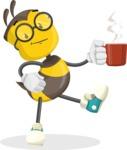 School Bee Cartoon Vector Character AKA Shelbee Sting - Coffee