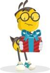 School Bee Cartoon Vector Character AKA Shelbee Sting - Gift
