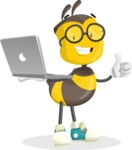 School Bee Cartoon Vector Character AKA Shelbee Sting - Laptop 1