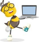 School Bee Cartoon Vector Character AKA Shelbee Sting - Laptop 3