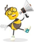School Bee Cartoon Vector Character AKA Shelbee Sting - Loudspeaker