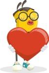 School Bee Cartoon Vector Character AKA Shelbee Sting - Love