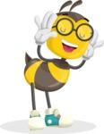 School Bee Cartoon Vector Character AKA Shelbee Sting - Making Face