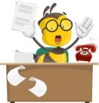 School Bee Cartoon Vector Character AKA Shelbee Sting - Office Fever