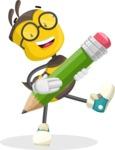School Bee Cartoon Vector Character AKA Shelbee Sting - Pencil