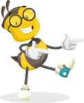 School Bee Cartoon Vector Character AKA Shelbee Sting - Point
