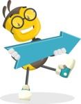 School Bee Cartoon Vector Character AKA Shelbee Sting - Pointer 2