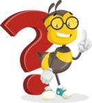 School Bee Cartoon Vector Character AKA Shelbee Sting - Question
