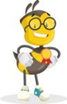 School Bee Cartoon Vector Character AKA Shelbee Sting - Ribbon