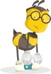 School Bee Cartoon Vector Character AKA Shelbee Sting - Sad