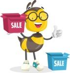 School Bee Cartoon Vector Character AKA Shelbee Sting - Sale