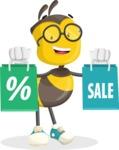 School Bee Cartoon Vector Character AKA Shelbee Sting - Sale2