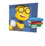 School Bee Cartoon Vector Character AKA Shelbee Sting - Shape 3