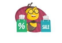 School Bee Cartoon Vector Character AKA Shelbee Sting - Shape 4