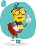 School Bee Cartoon Vector Character AKA Shelbee Sting - Shape 7