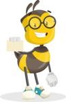School Bee Cartoon Vector Character AKA Shelbee Sting - Sign 1