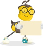 School Bee Cartoon Vector Character AKA Shelbee Sting - Sign 4