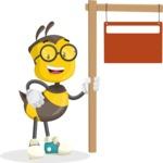 School Bee Cartoon Vector Character AKA Shelbee Sting - Sign 9