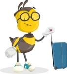 School Bee Cartoon Vector Character AKA Shelbee Sting - Travel 1