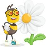 School Bee Cartoon Vector Character AKA Shelbee Sting - Turned off