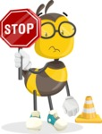 School Bee Cartoon Vector Character AKA Shelbee Sting - Under Construction 1