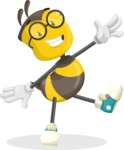 School Bee Cartoon Vector Character AKA Shelbee Sting - Wave