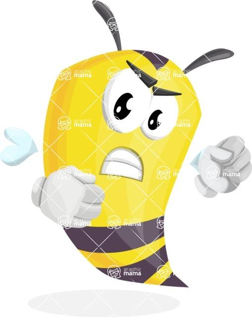 Bee Cartoon Vector Character AKA Mr. Bee Busy - Angry