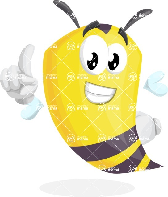 Bee Cartoon Vector Character AKA Mr. Bee Busy - Attention