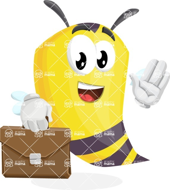 Bee Cartoon Vector Character AKA Mr. Bee Busy - Brifcase 2