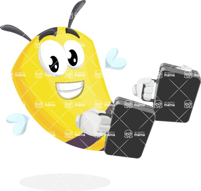 Bee Cartoon Vector Character AKA Mr. Bee Busy - Brifcase 3