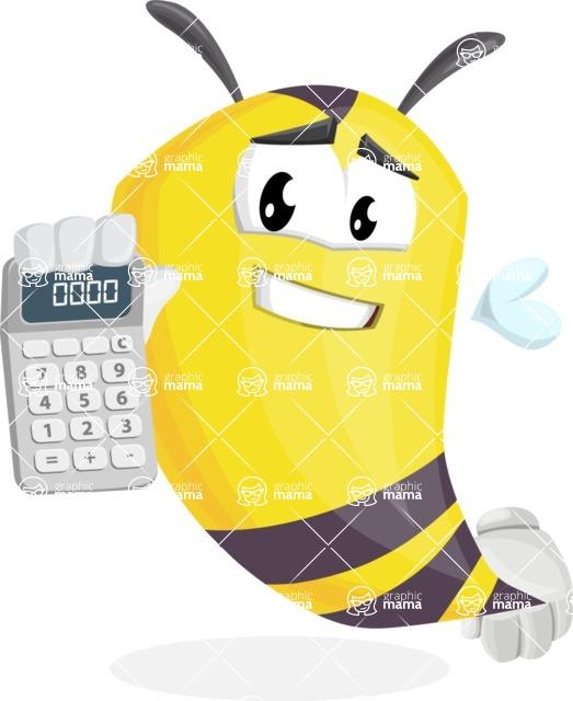 Bee Cartoon Vector Character AKA Mr. Bee Busy - Calculator
