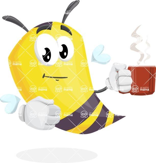 Bee Cartoon Vector Character AKA Mr. Bee Busy - Coffee