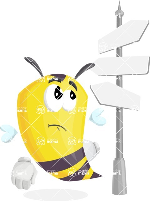 Bee Cartoon Vector Character AKA Mr. Bee Busy - Crossroad