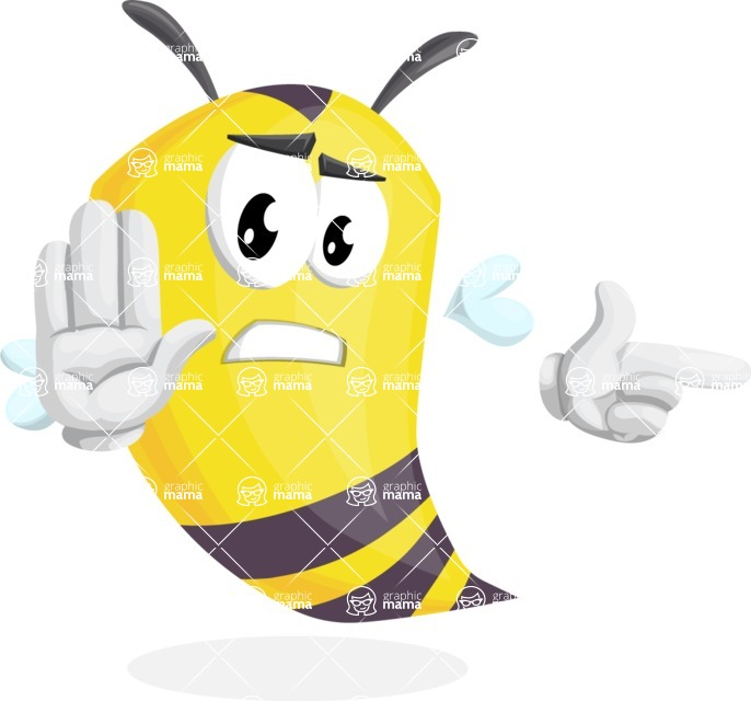 Bee Cartoon Vector Character AKA Mr. Bee Busy - Direct Attention 2