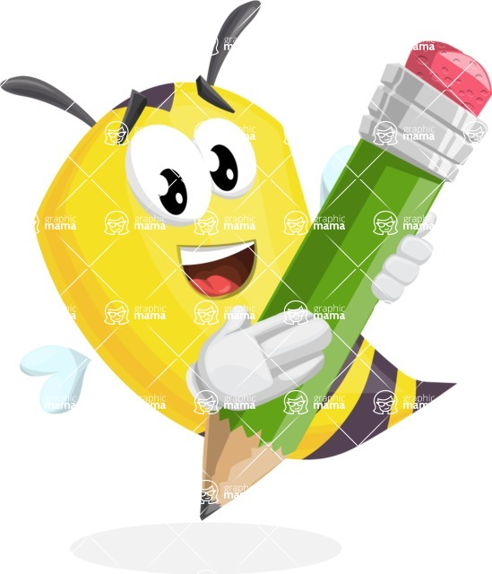 Bee Cartoon Vector Character AKA Mr. Bee Busy - Drawing with Pencil