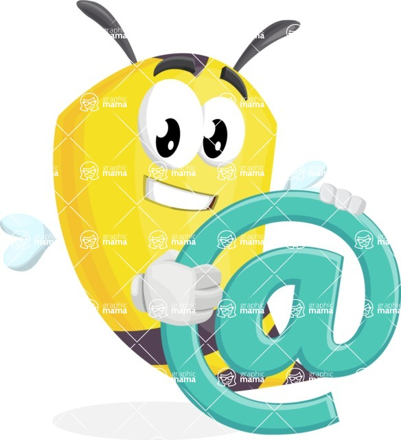 Bee Cartoon Vector Character AKA Mr. Bee Busy - Email