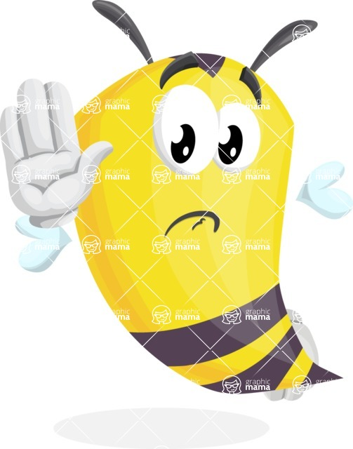 Bee Cartoon Vector Character AKA Mr. Bee Busy - Goodbye
