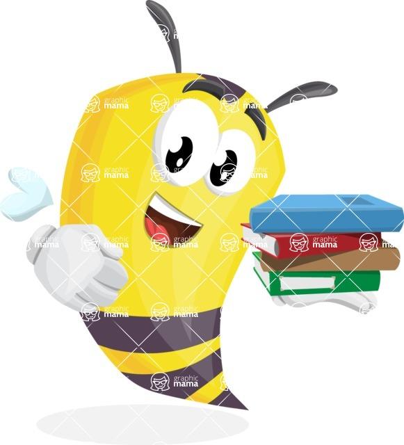 Bee Cartoon Vector Character AKA Mr. Bee Busy - Holding Books