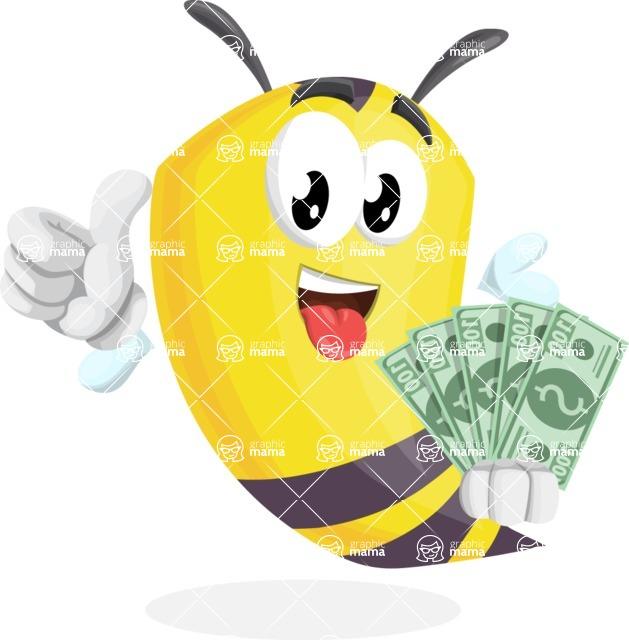 Bee Cartoon Vector Character AKA Mr. Bee Busy - Holding Money Banknotes