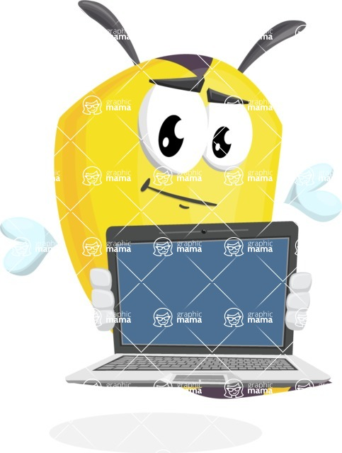 Bee Cartoon Vector Character AKA Mr. Bee Busy - Laptop 2