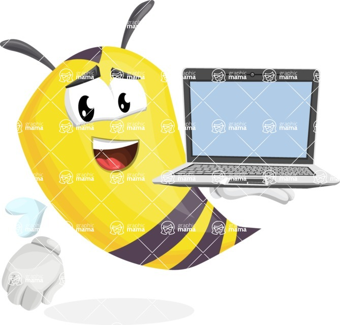 Bee Cartoon Vector Character AKA Mr. Bee Busy - Laptop 3