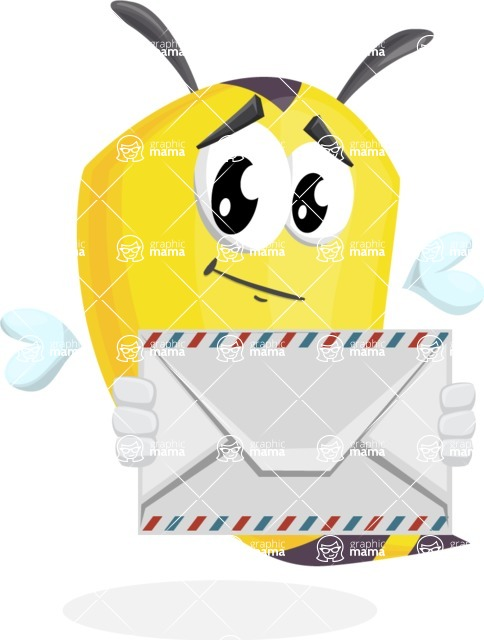 Bee Cartoon Vector Character AKA Mr. Bee Busy - Letter