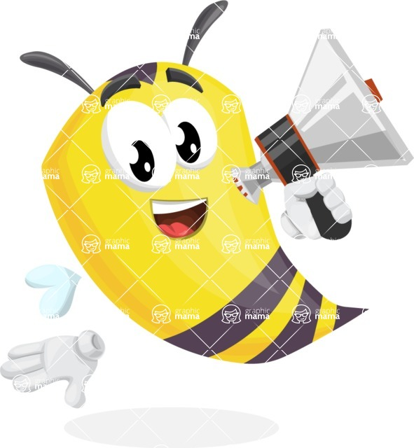Bee Cartoon Vector Character AKA Mr. Bee Busy - Loudspeaker