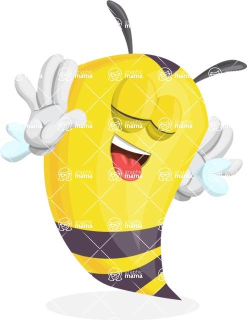 Bee Cartoon Vector Character AKA Mr. Bee Busy - Making Face