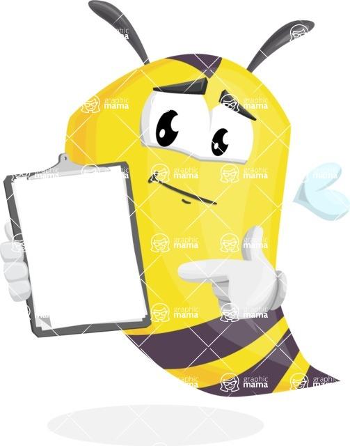 Bee Cartoon Vector Character AKA Mr. Bee Busy - Notepad 1