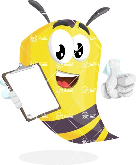 Bee Cartoon Vector Character AKA Mr. Bee Busy - Notepad 4