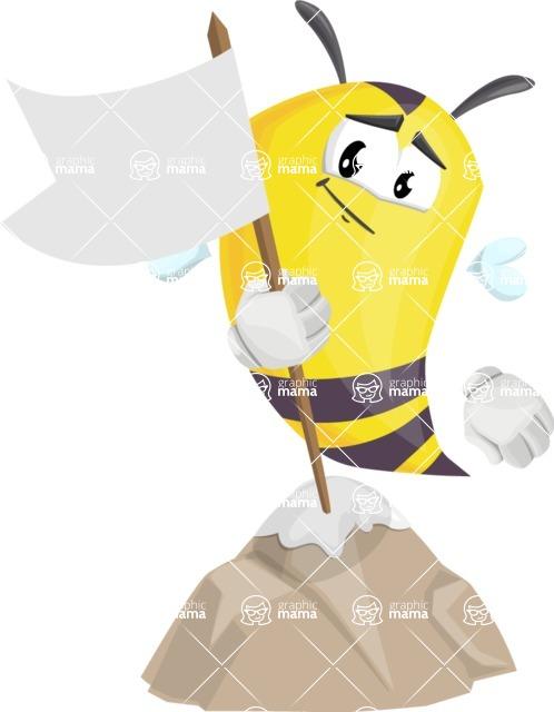 Bee Cartoon Vector Character AKA Mr. Bee Busy - On Top
