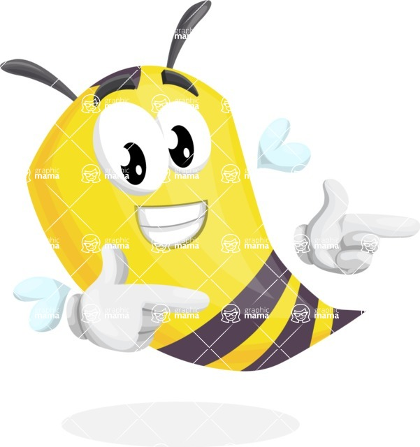 Bee Cartoon Vector Character AKA Mr. Bee Busy - Point
