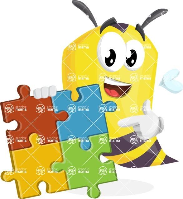 Bee Cartoon Vector Character AKA Mr. Bee Busy - Puzzle
