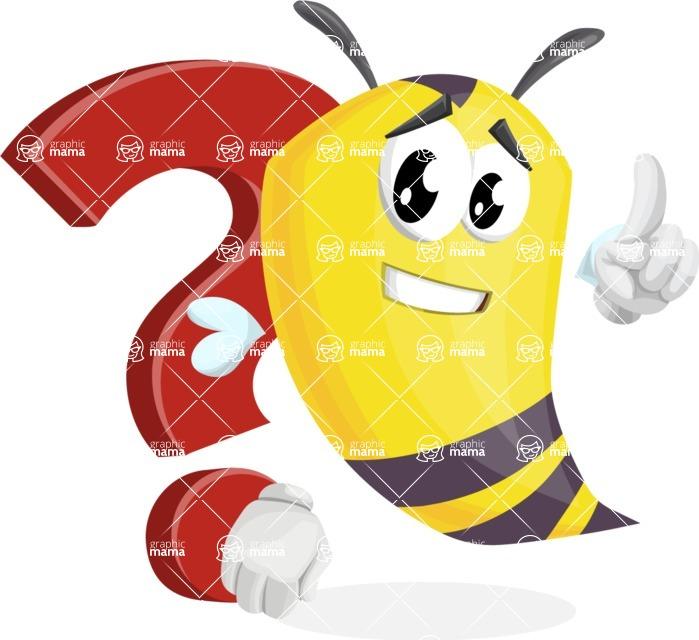 Bee Cartoon Vector Character AKA Mr. Bee Busy - Question